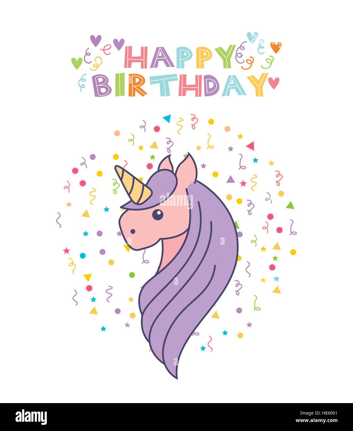 happy birthday card with cute unicorn icon over white ...