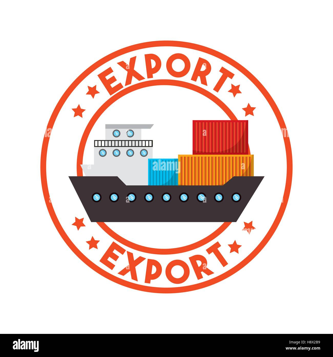 stamp of export with cargo ship icon inside. export and ...