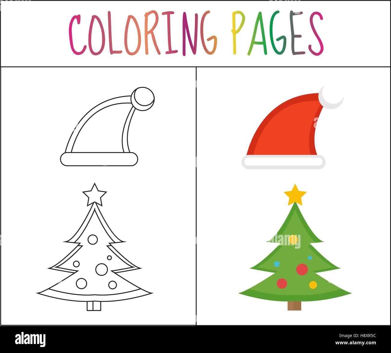 Coloring Book Page Christmas Santa Hats And Tree Sketch Color Version For Kids Vector Illustration