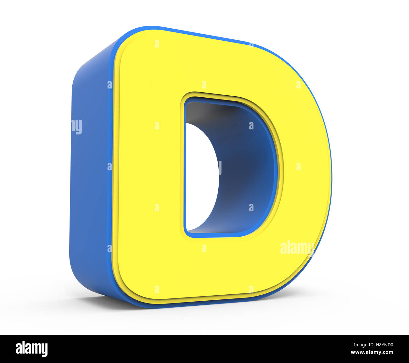 3d rendering cute yellow letter d isolated white for D for design