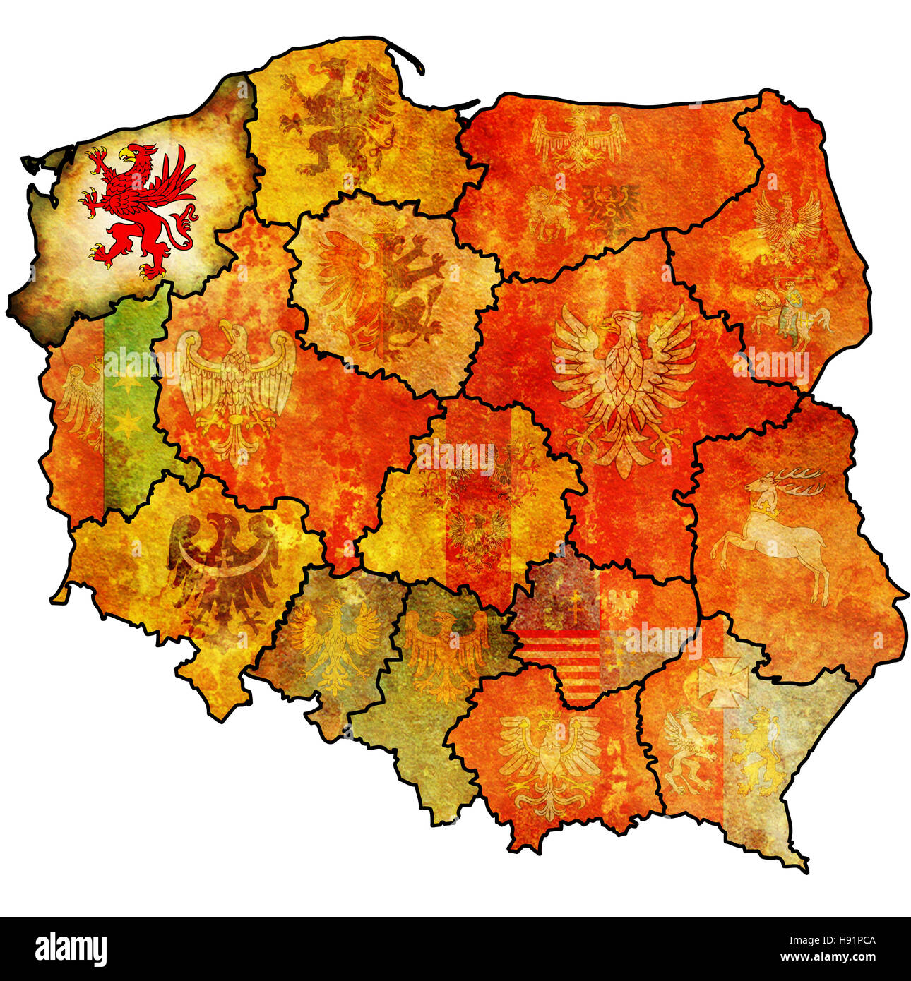 western pomerania region on administration map of poland with flag