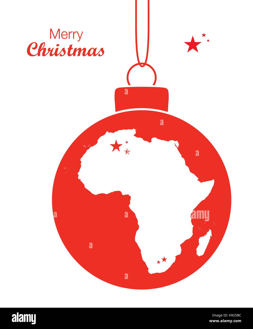 merry christmas illustration theme with map of africa stock vector