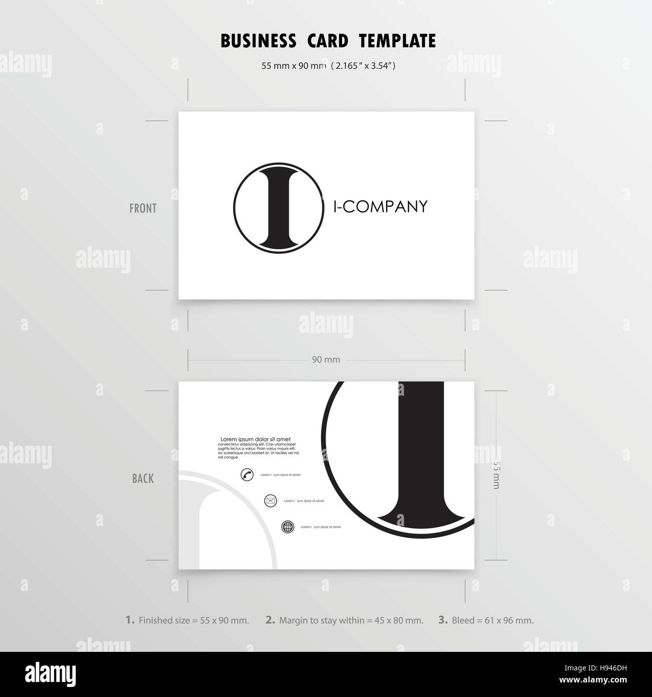 Business Cards Design Template. Name Cards Symbol. Size 55 mm x 90 ...
