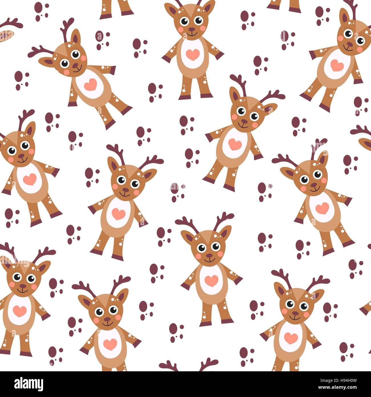 cute cartoon reindeer seamless texture children s background