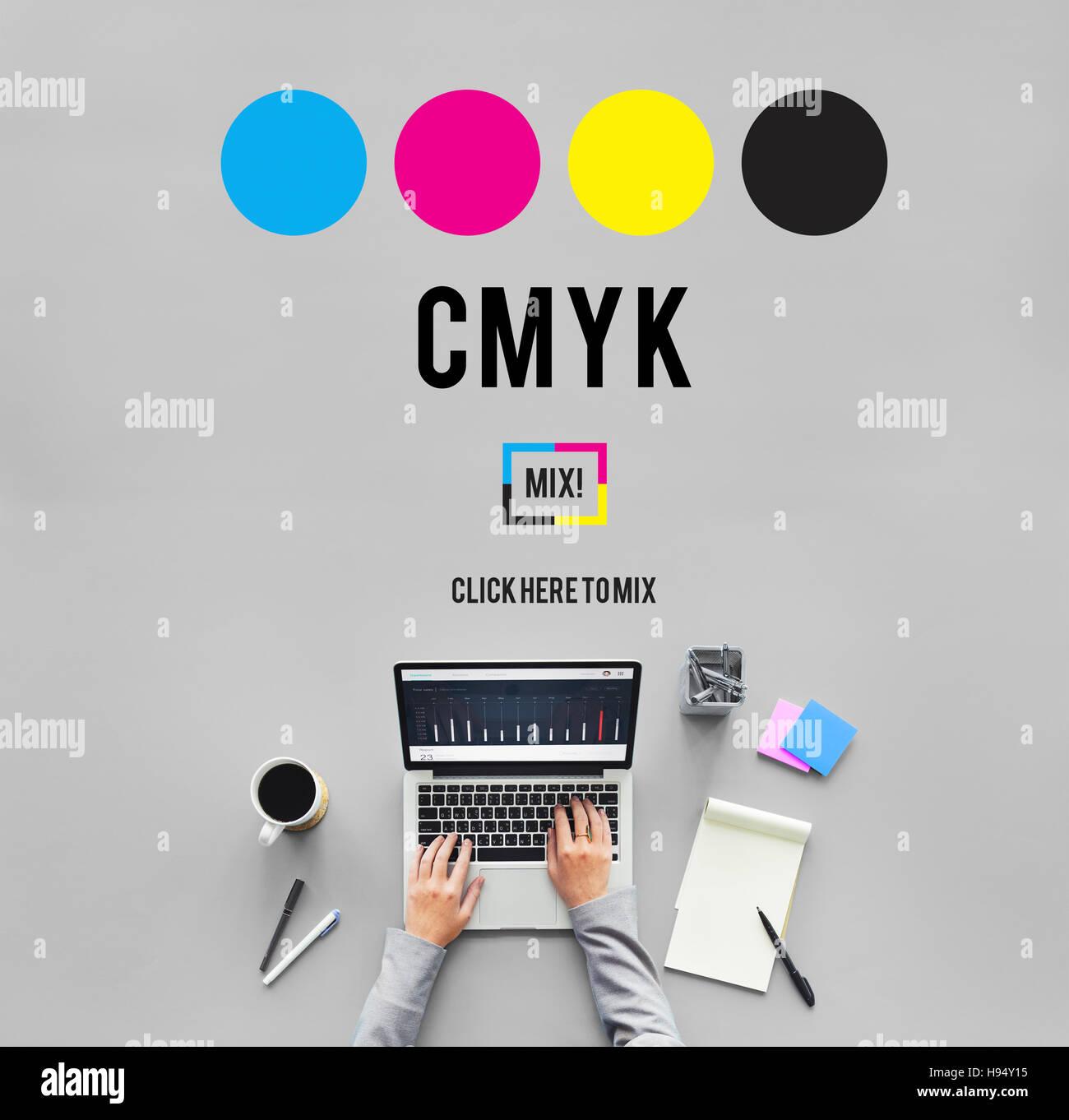 cmyk cyan magenta yellow key color printing process concept stock