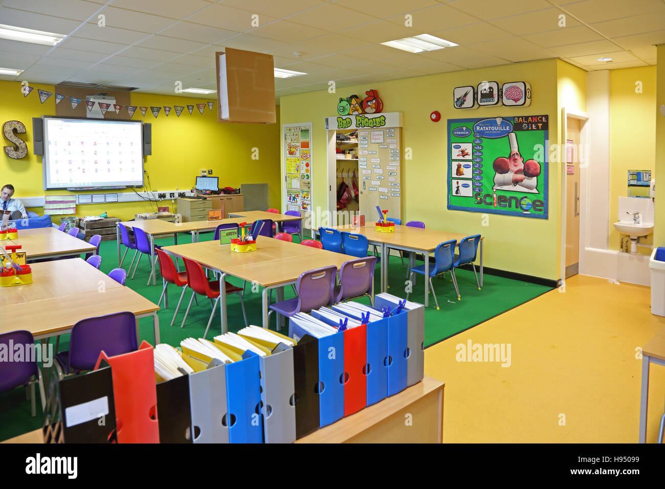 Brightly coloured interior of a modern year 1 school classroom