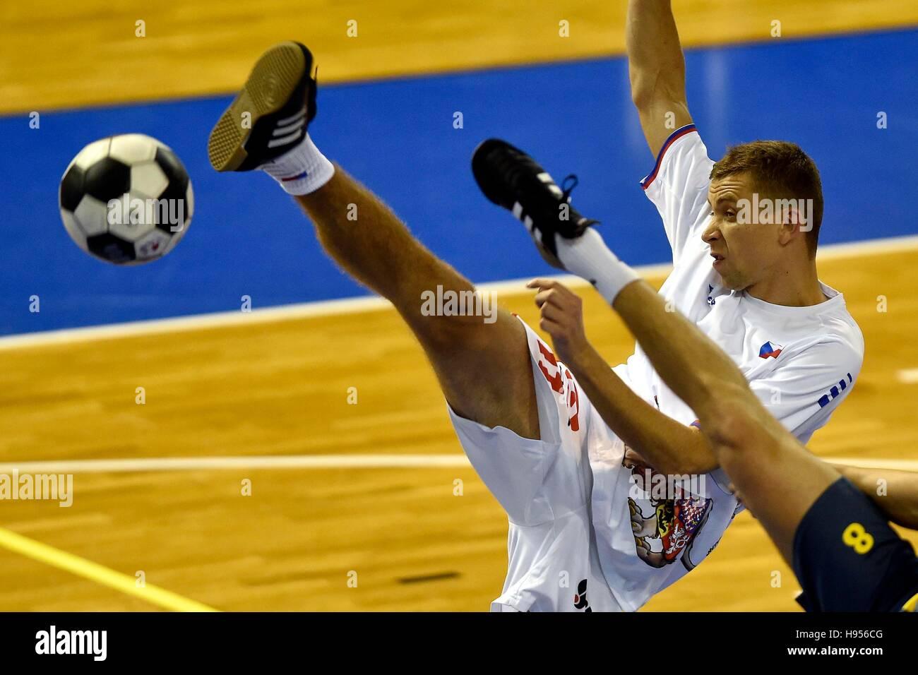 Czech futnet player jakub pospisil in action during the futnet world championship 2016 in brno