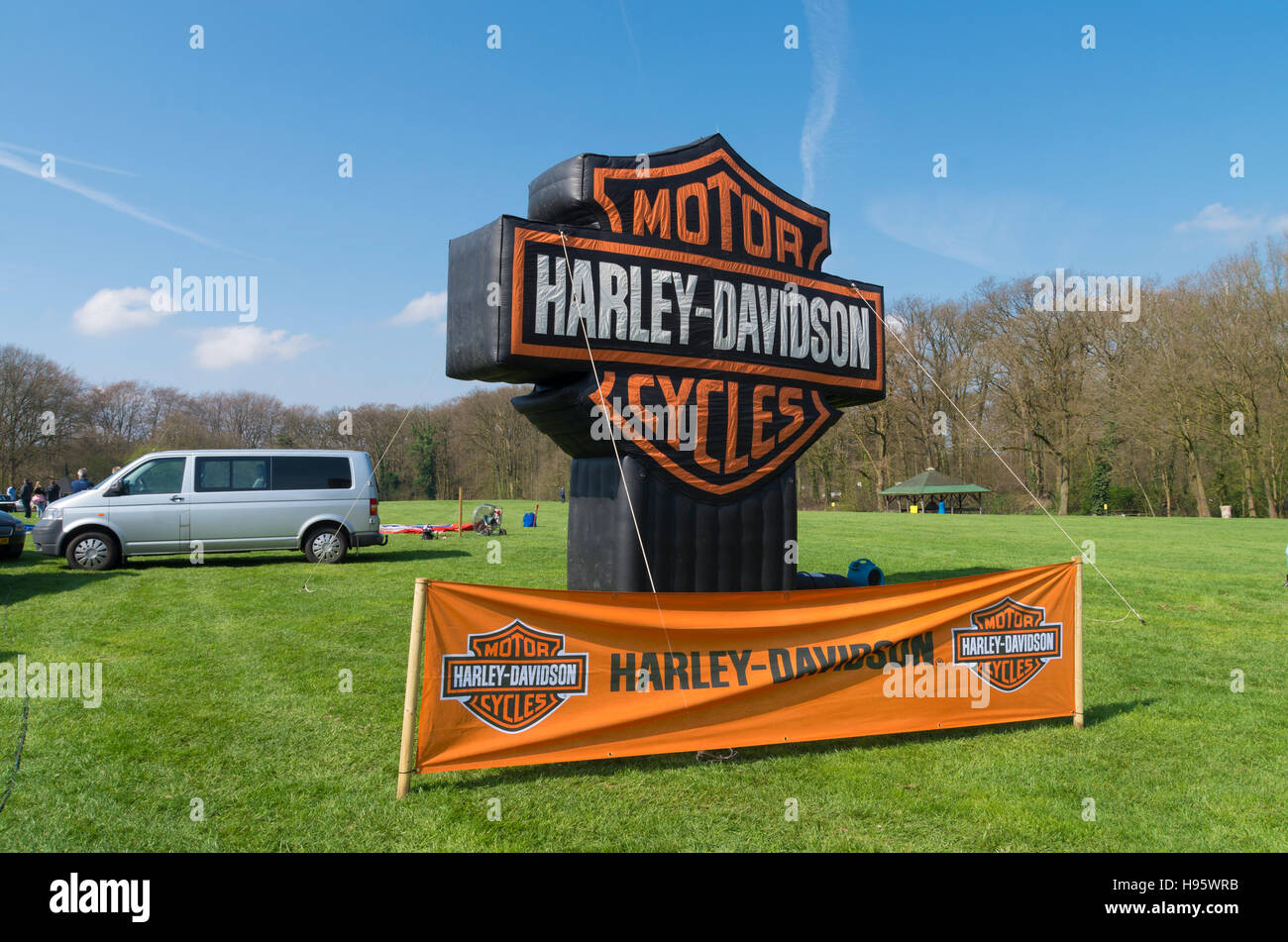 oldenzaal, netherlands - april 10, 2016: harley-davidson banner
