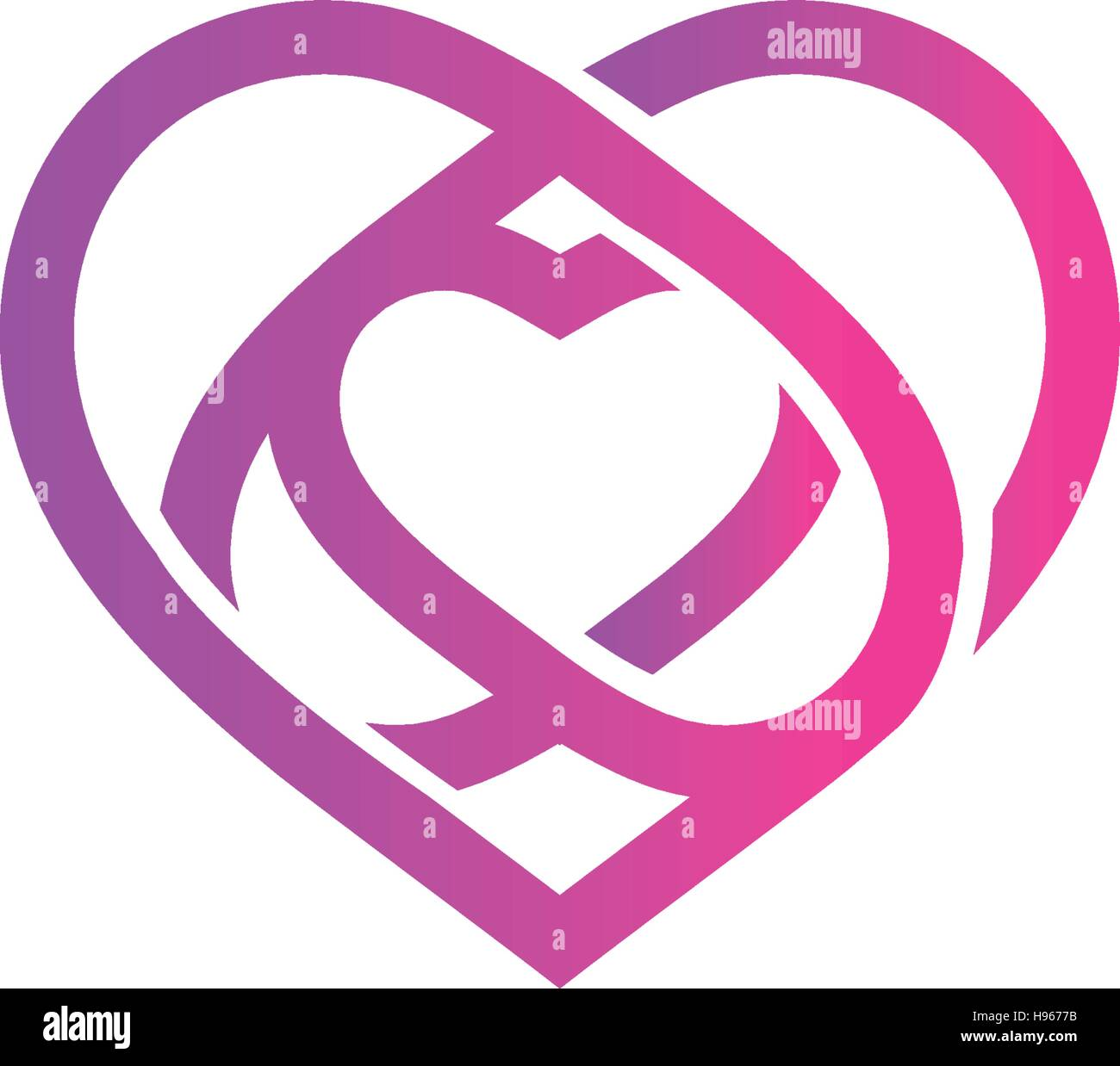 Wedding symbol  Isolated pink abstract monoline heart logo. Love logotypes. St ...