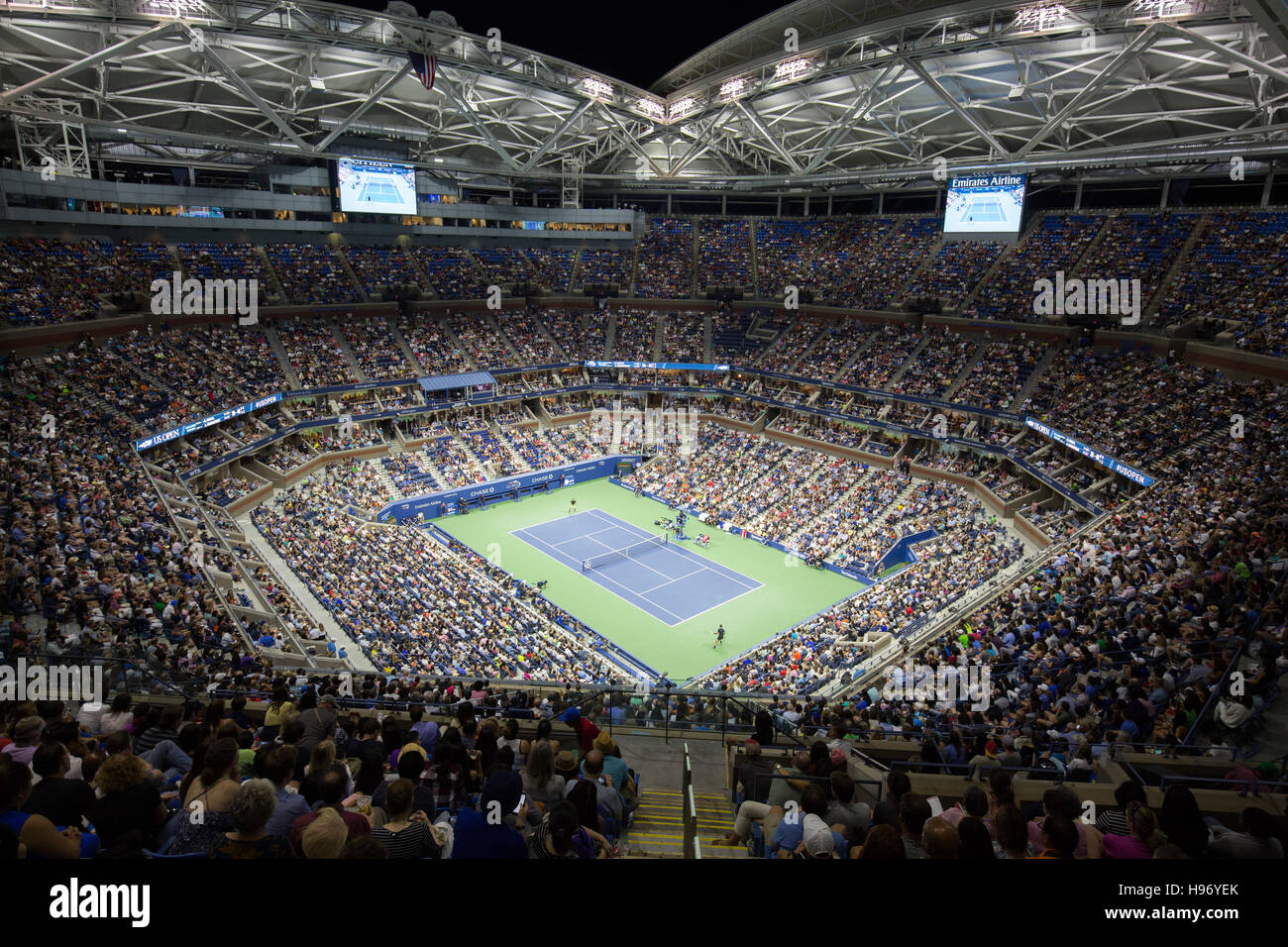 Arthur Ashe Stadium, night session,US Open 2016 Stock ...