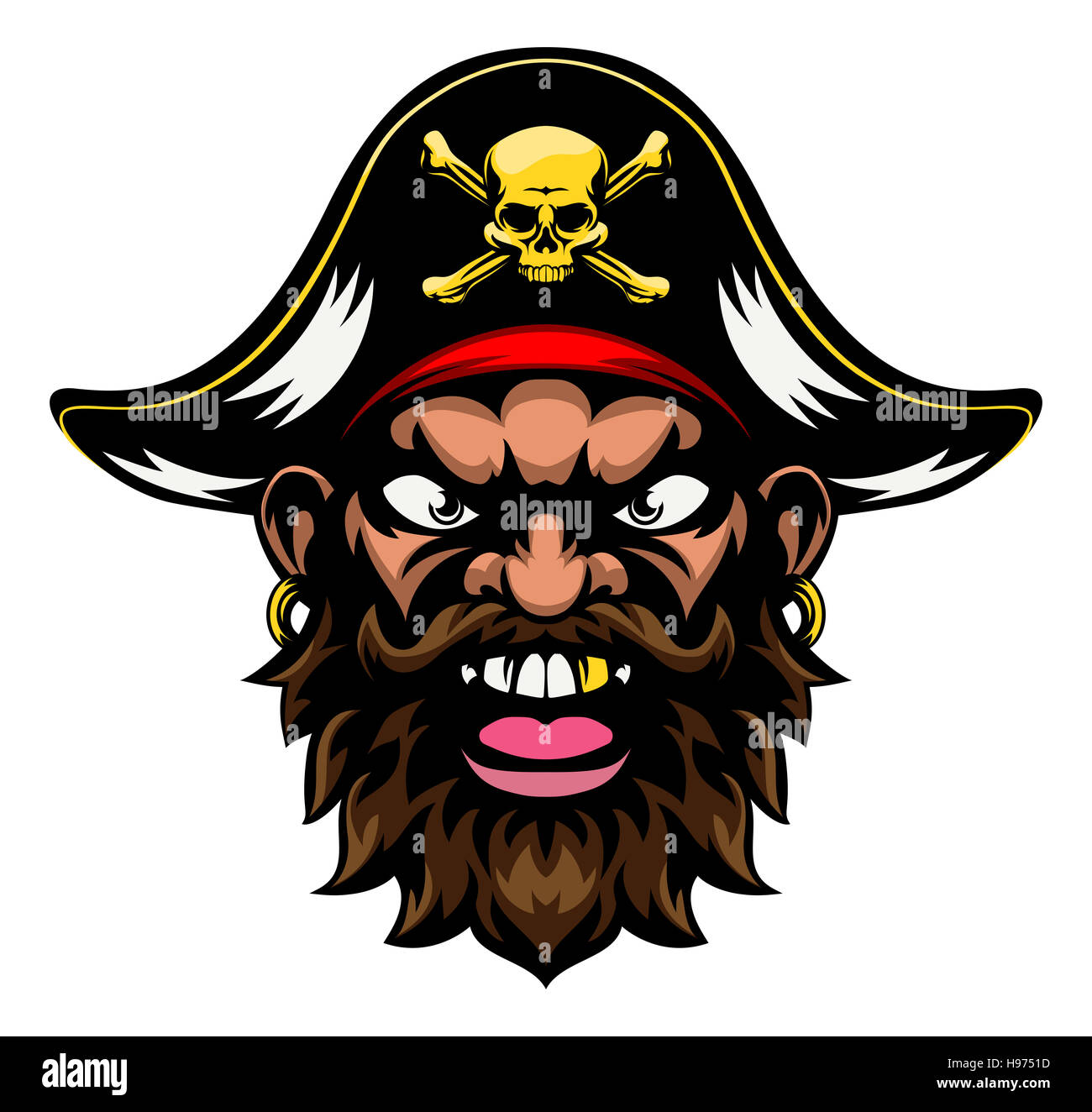 a mean looking cartoon pirate sports mascot stock photo royalty
