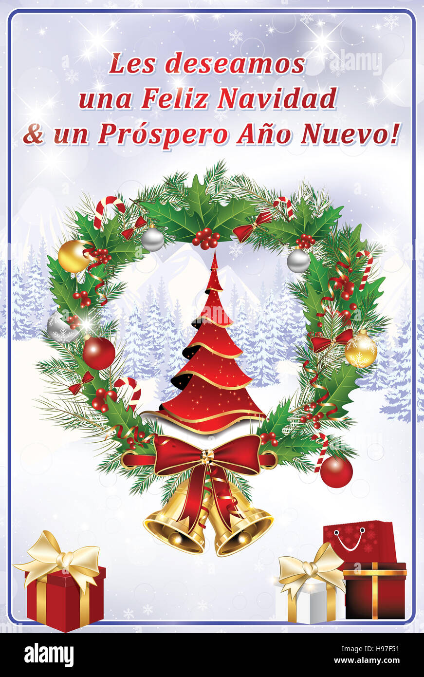 Corporate winter holiday greeting card in spanish language we corporate winter holiday greeting card in spanish language we wish you merry christmas and a happy new year print colors used kristyandbryce Images