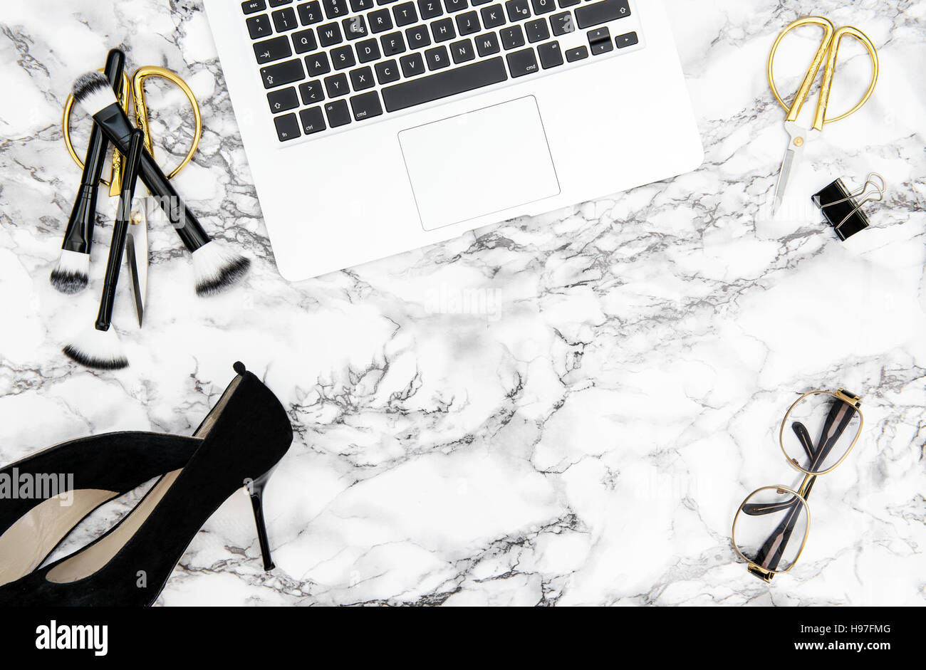 notebook supplies feminine accessories on marble office desk background fashion flat lay for blogger social media