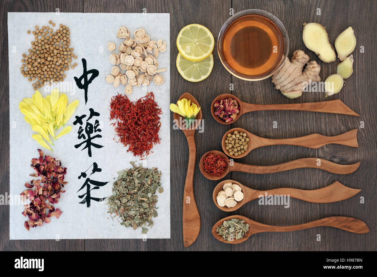 Chinese herbal insomnia tea - Chinese Herbal Tea Collection With Calligraphy On Rice Paper With Tea Cup And Herbs In Wooden