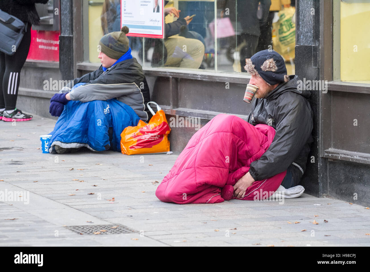 homeless person on the streets of liverpool merseyside