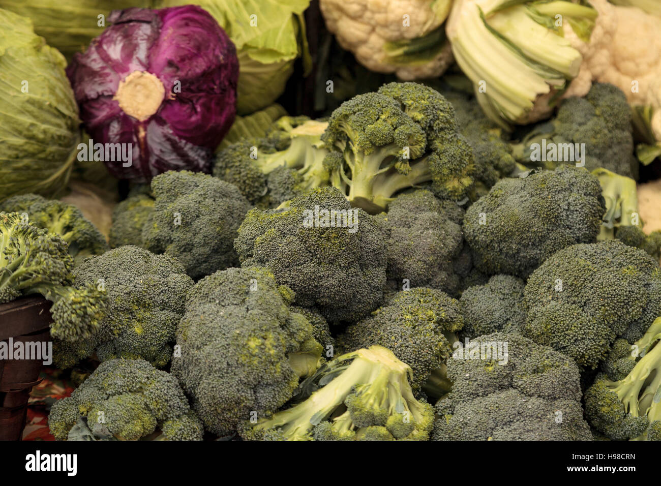 Organic Broccoli And Red Cabbage Grown On A Farm Displayed At Farmers Market