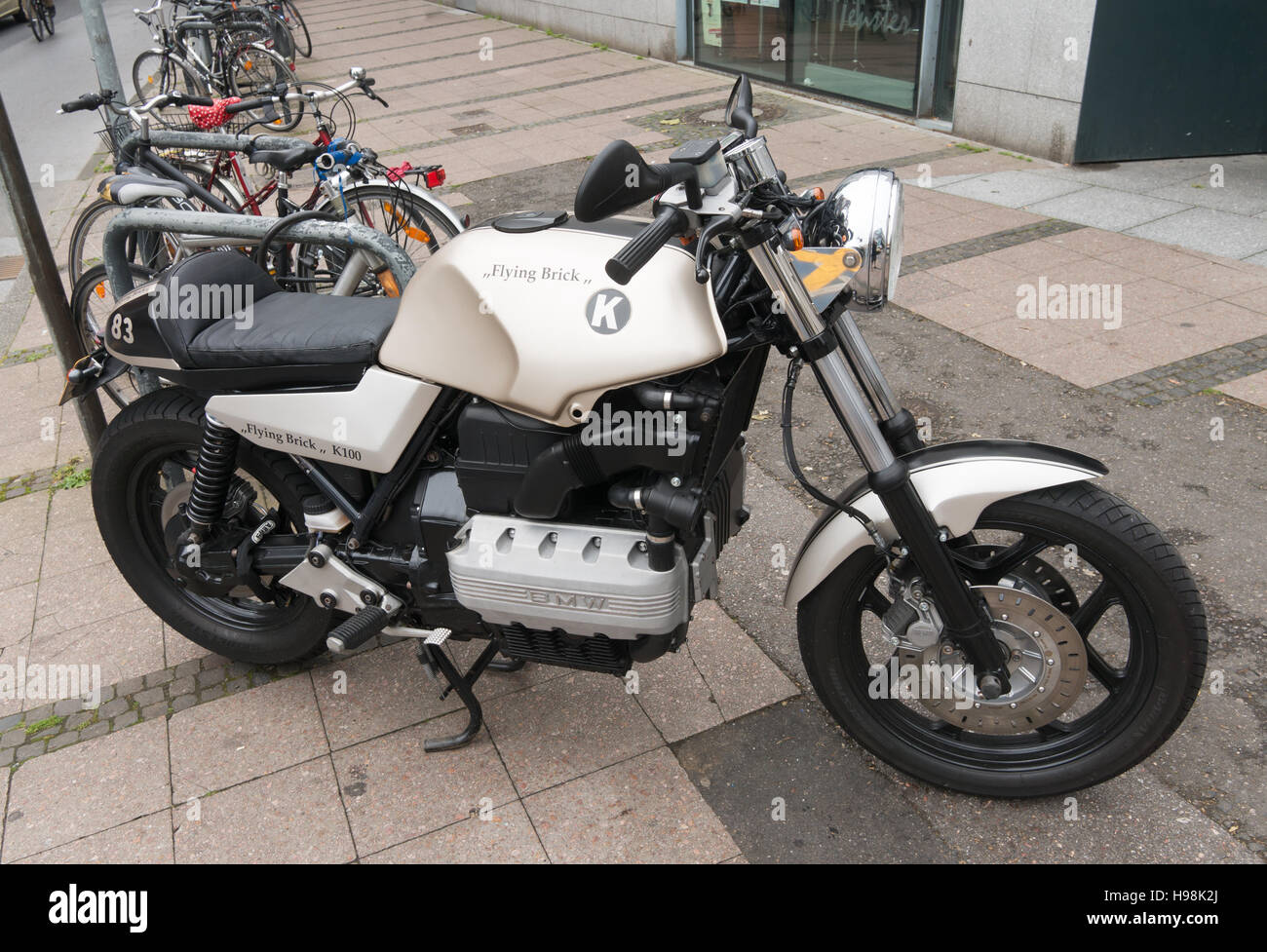 bmw k100 flying brick motorbike stock photo, royalty free image