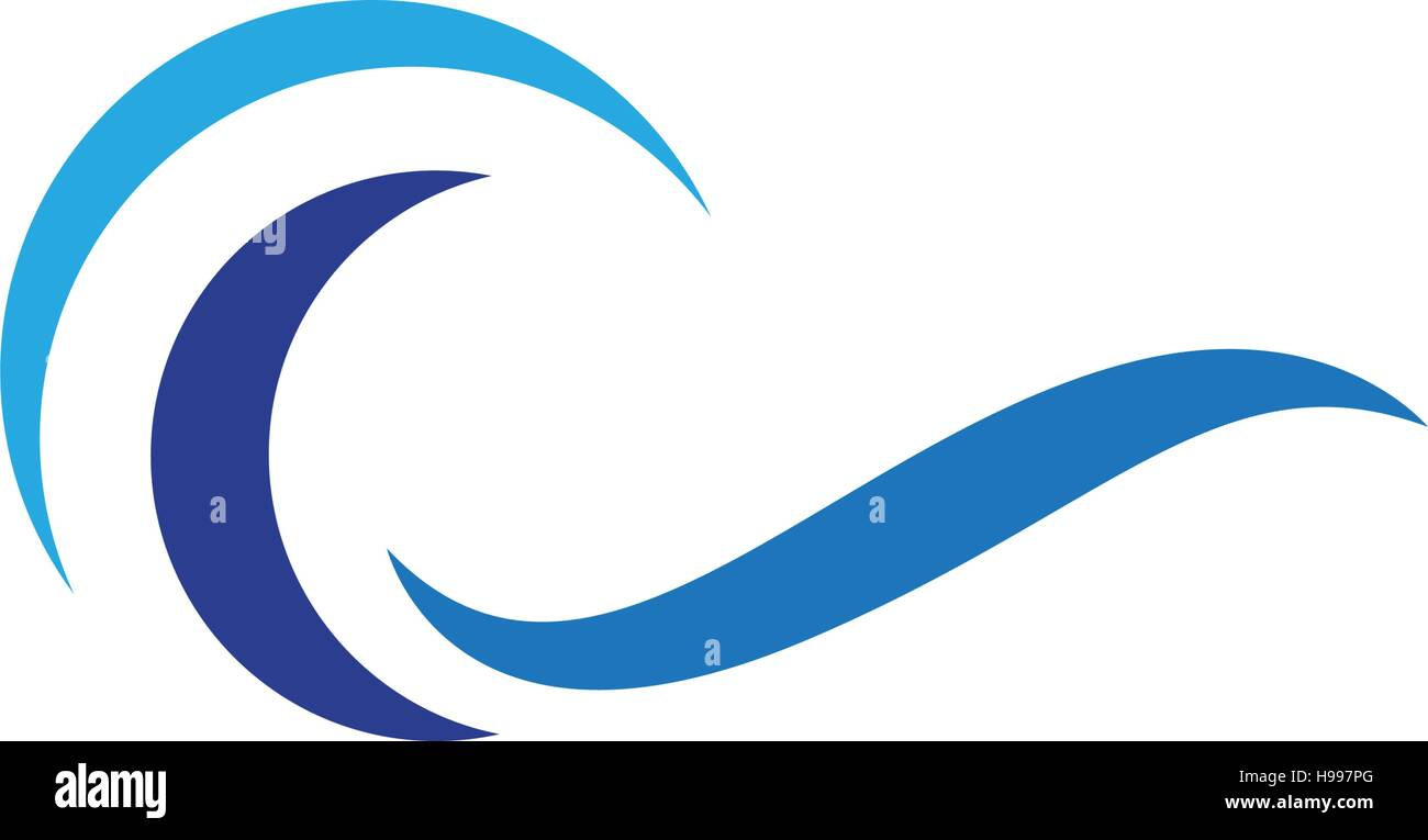 vector logo with yellow sun and blue sea waves vector