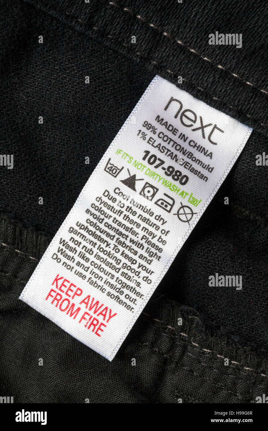 Washing Care Instructions Label In Next Black Jeans Made