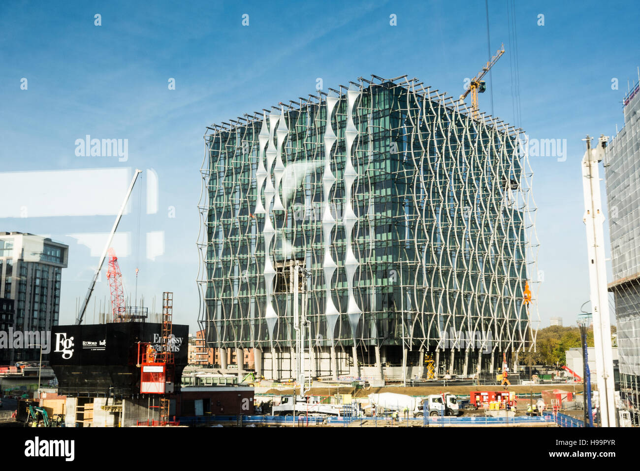 Stock Photo The New Us Embassy At Nine Elms In London Nearing Completion As Seen From A Passing Train