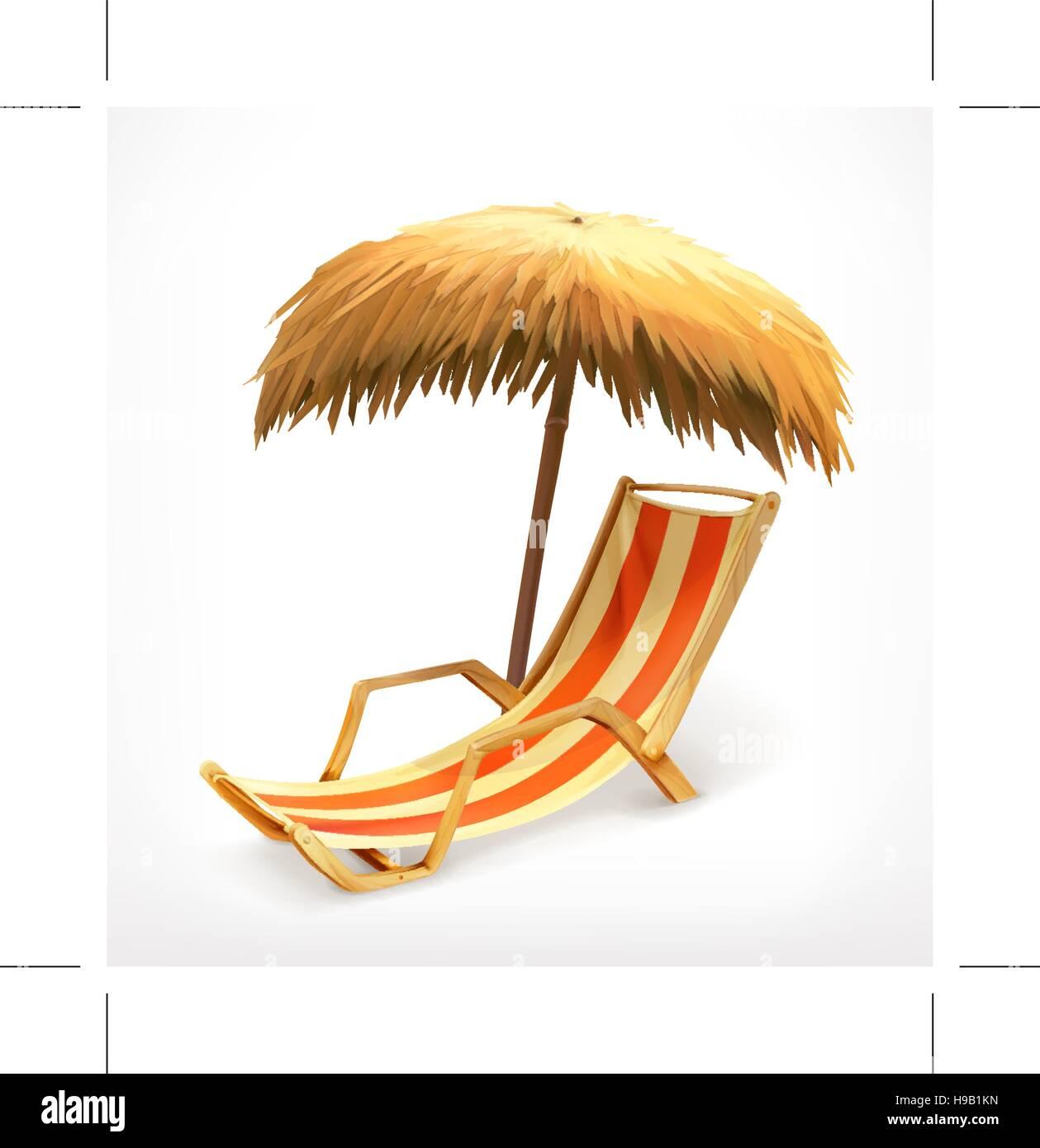 Beach chair and umbrella sketch - Beach Umbrella And Lounge Chair Vector Icon Stock Vector