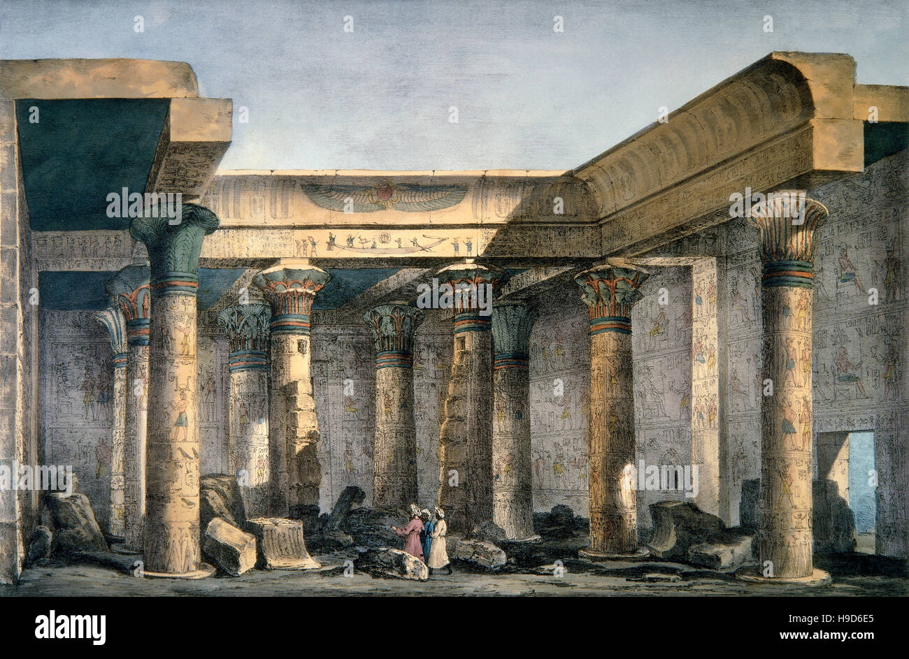 Ancient greek temple interior - Engraving 19th Century Interior Of A Temple On The Island Of Philae