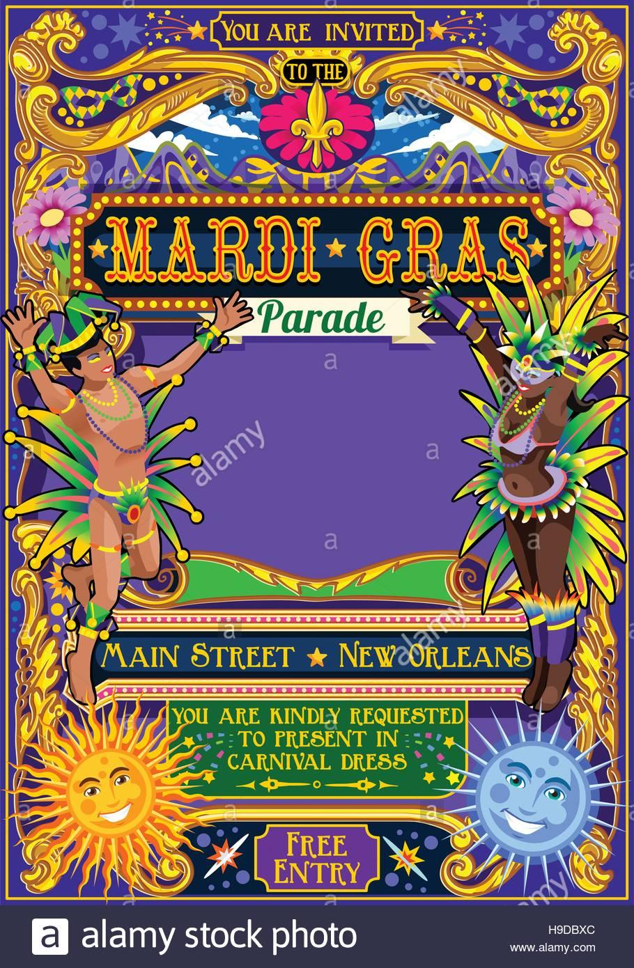 Mardi Gras festival poster illustration. New Orleans night Show ...