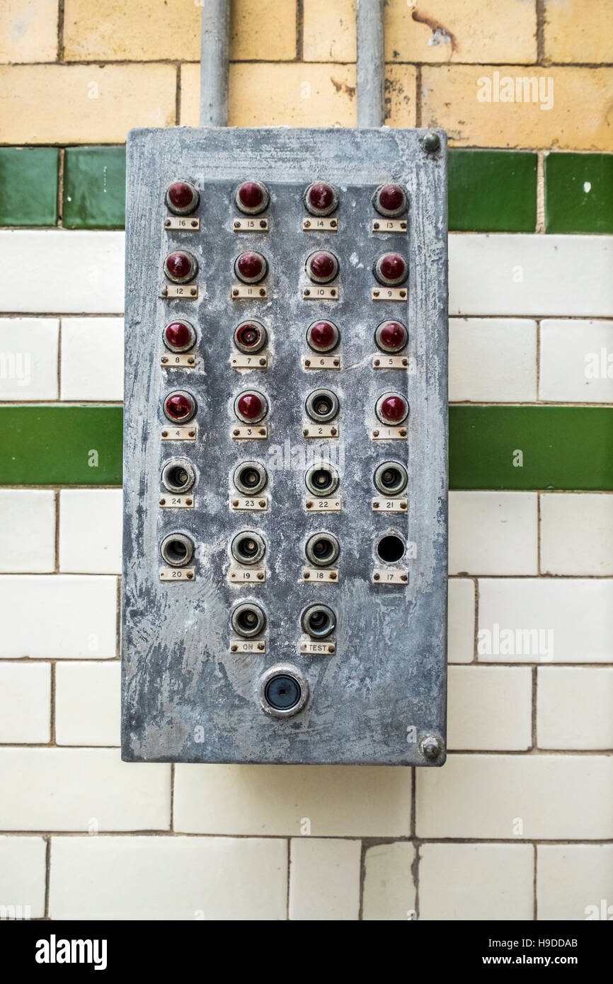 An electrical box containing red lights and switches mounted on a ...