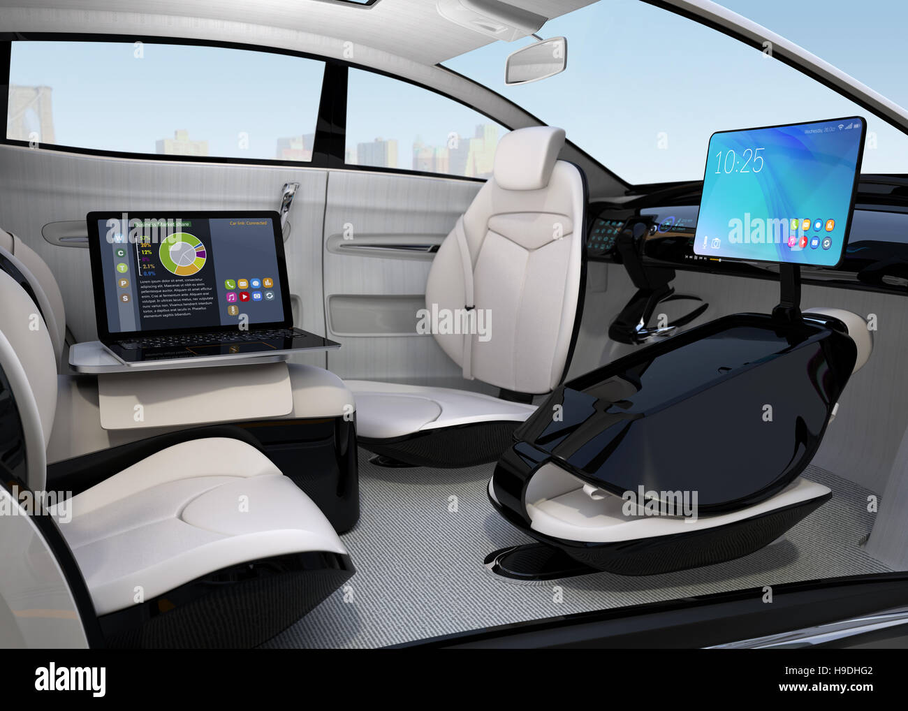 autonomous car interior design concept for new business work style stock photo royalty free. Black Bedroom Furniture Sets. Home Design Ideas