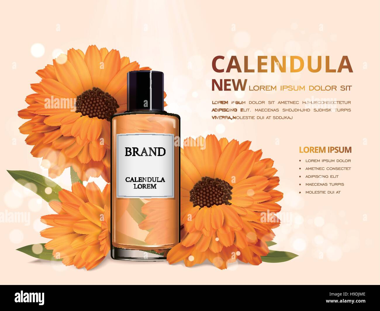 calendula skin toner ads 3d illustration cosmetic ads design with