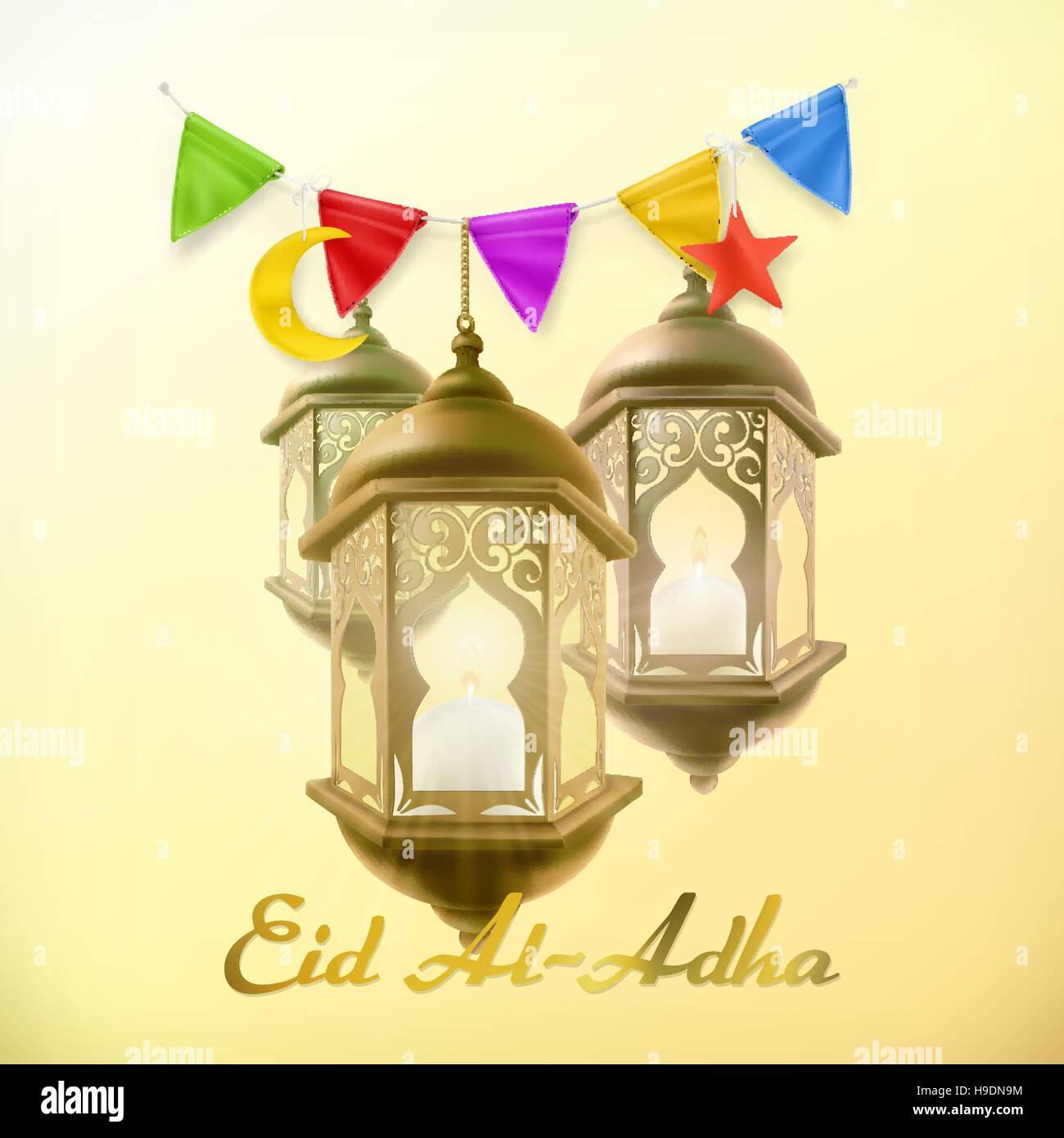 Muslim holiday eid al adha greeting card with lamp islamic muslim holiday eid al adha greeting card with lamp islamic culture vector background kristyandbryce Images