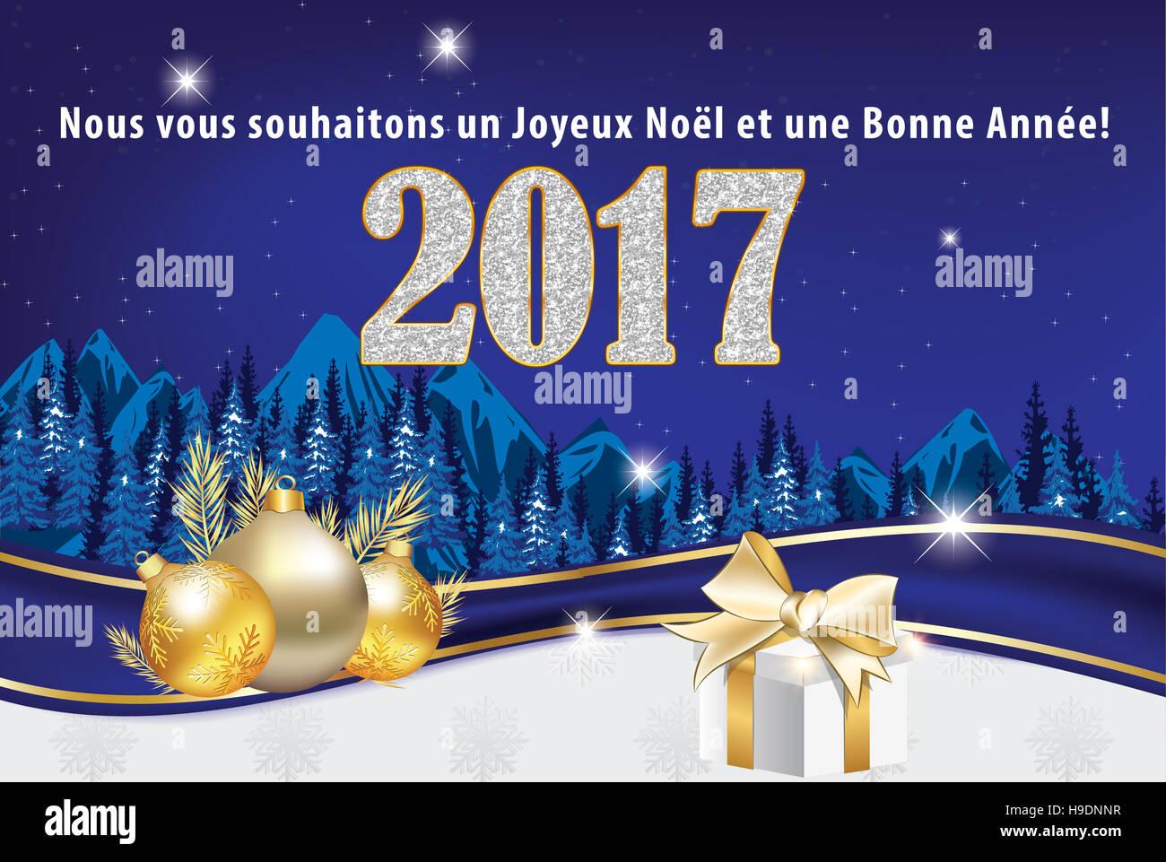 Hervorragend Carte de voeux 2017 pour Nouvel An. Nous vous souhaitons un Joyeux  DS76