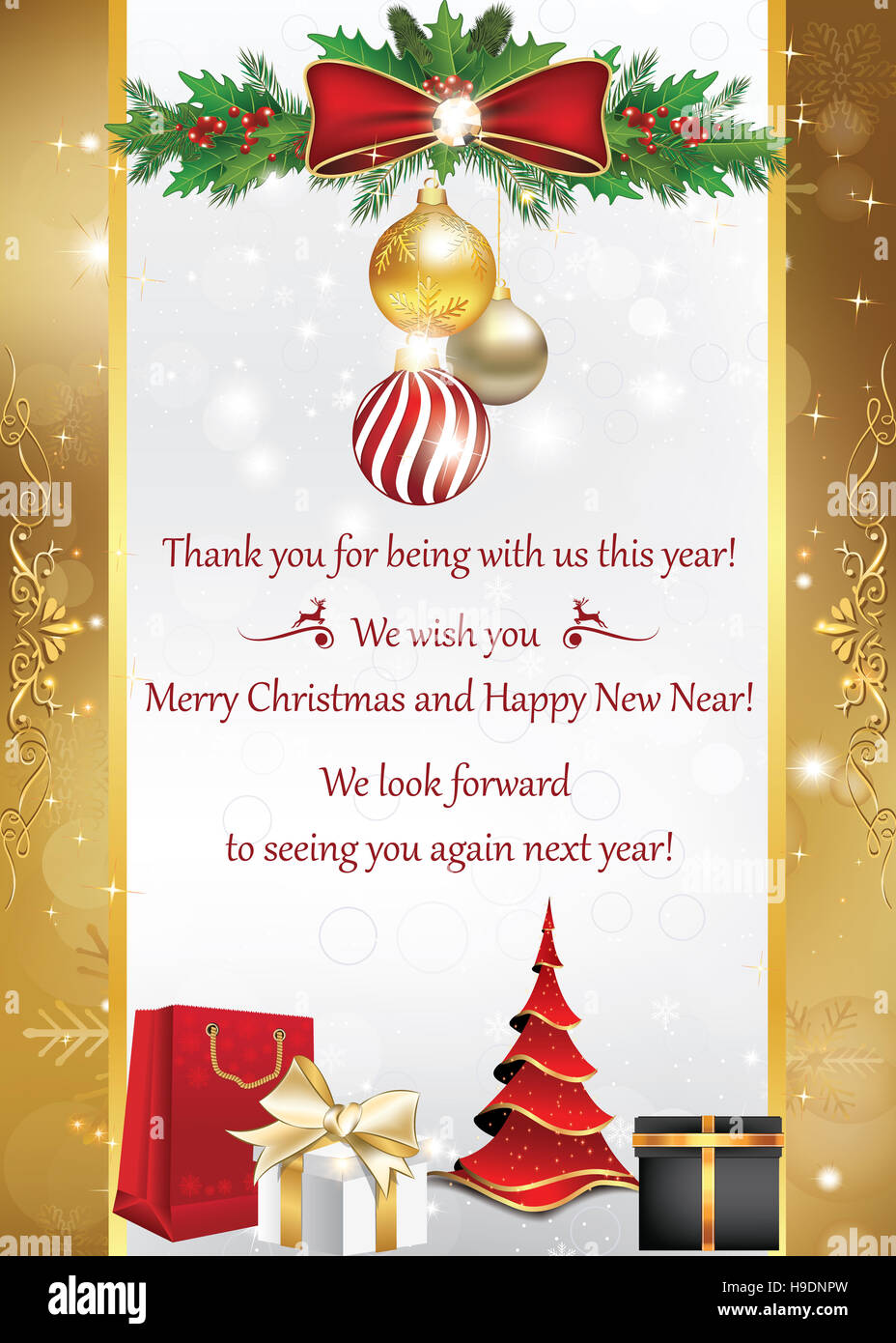 Business card for winter holidays. Thank you for being with us ...