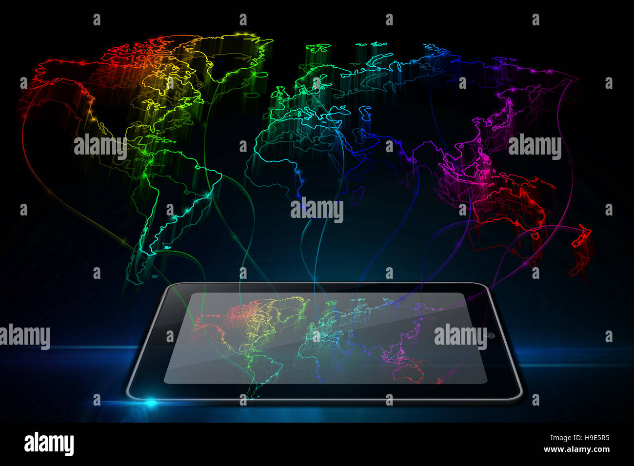 Neon outline map of the world from tablet on black background neon outline map of the world from tablet on black background voltagebd Images