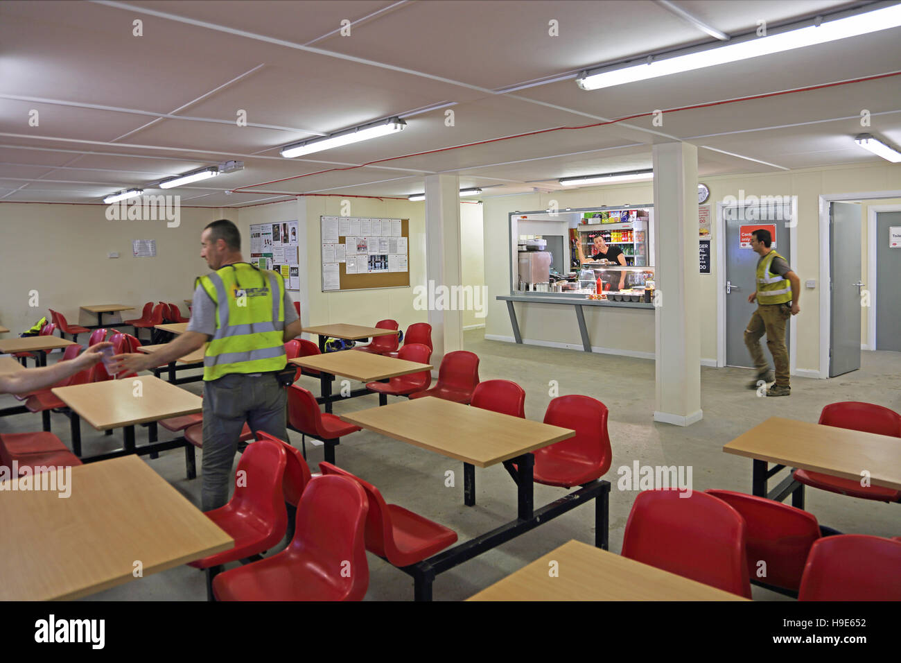 Interior of a temporary workers canteen on a large for Interior site