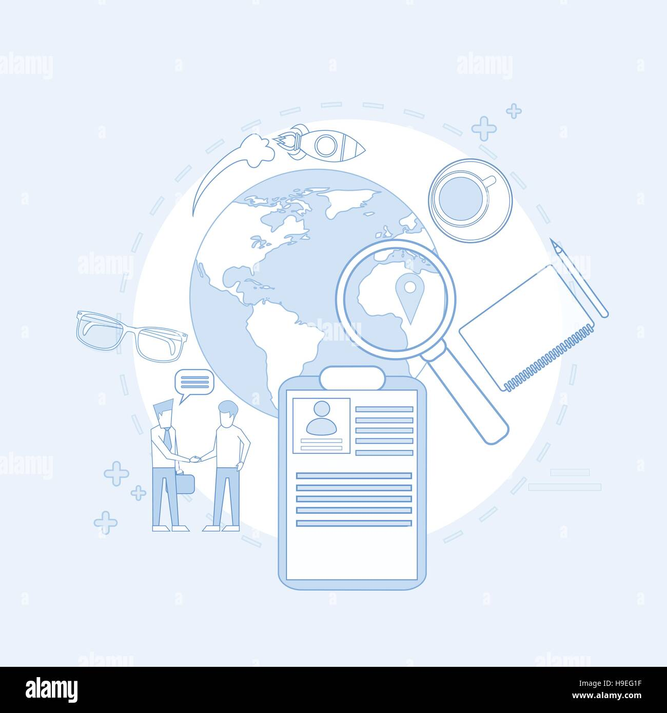 magnifying glass business people searching job resume recruitment - Resume People