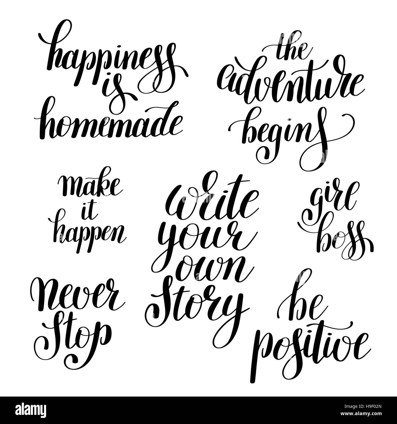 Positive Inspirational Quotes Set Of Handwritten Positive Inspirational Quotes Brush Typograph