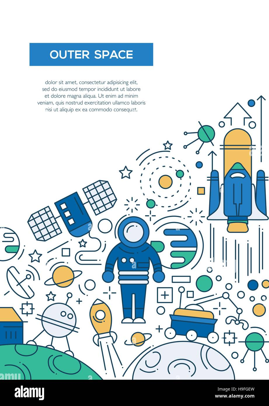 Outer space vector line design brochure poster flyer for Outer space poster design