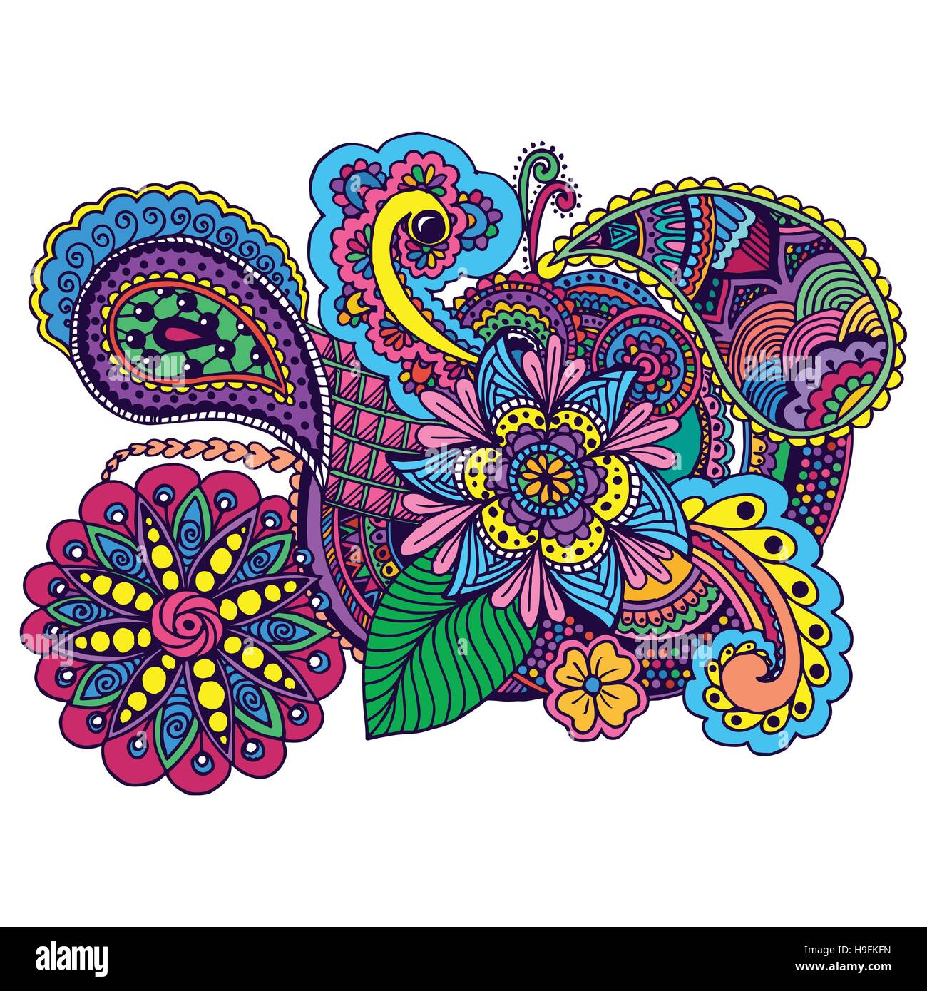 Hand Drawn Colored Doodle Antistress Zentangle Design
