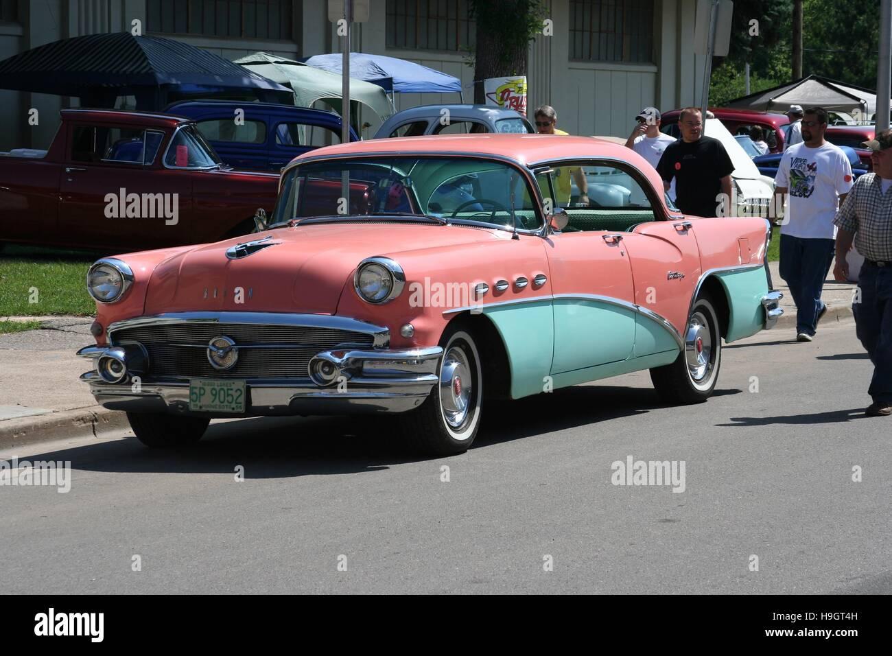 A 1956 Coral Pink And Aqua Green Buick Century Hardtop At