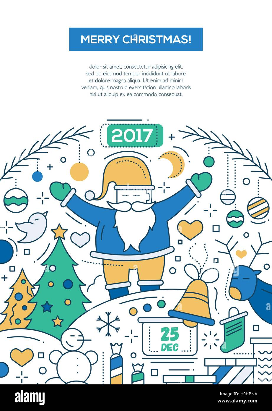 merry christmas and happy new year 2017 - vector line design, Presentation templates