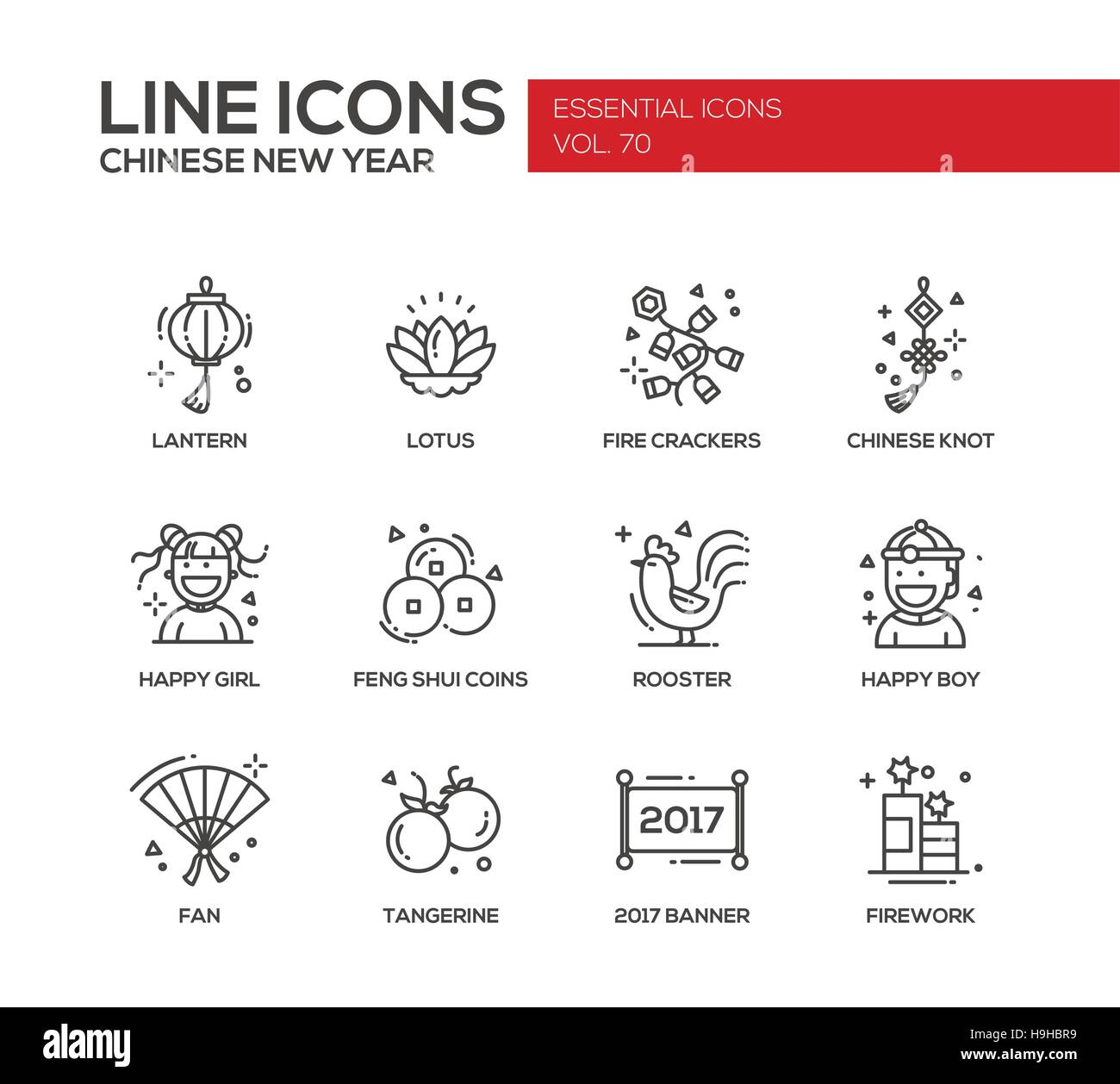 Line Art Year : Chinese new year set of modern vector line design icons