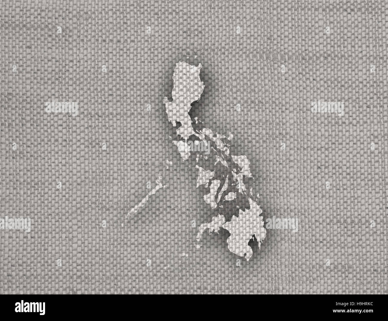Map of the Philippines on old linen Stock Photo Royalty Free