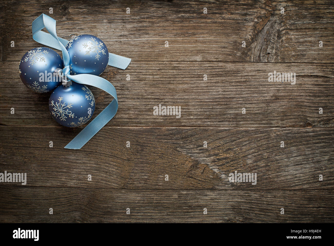 Silk christmas ornaments - Christmas Ornaments With Silk Ribbon On Wooden Background