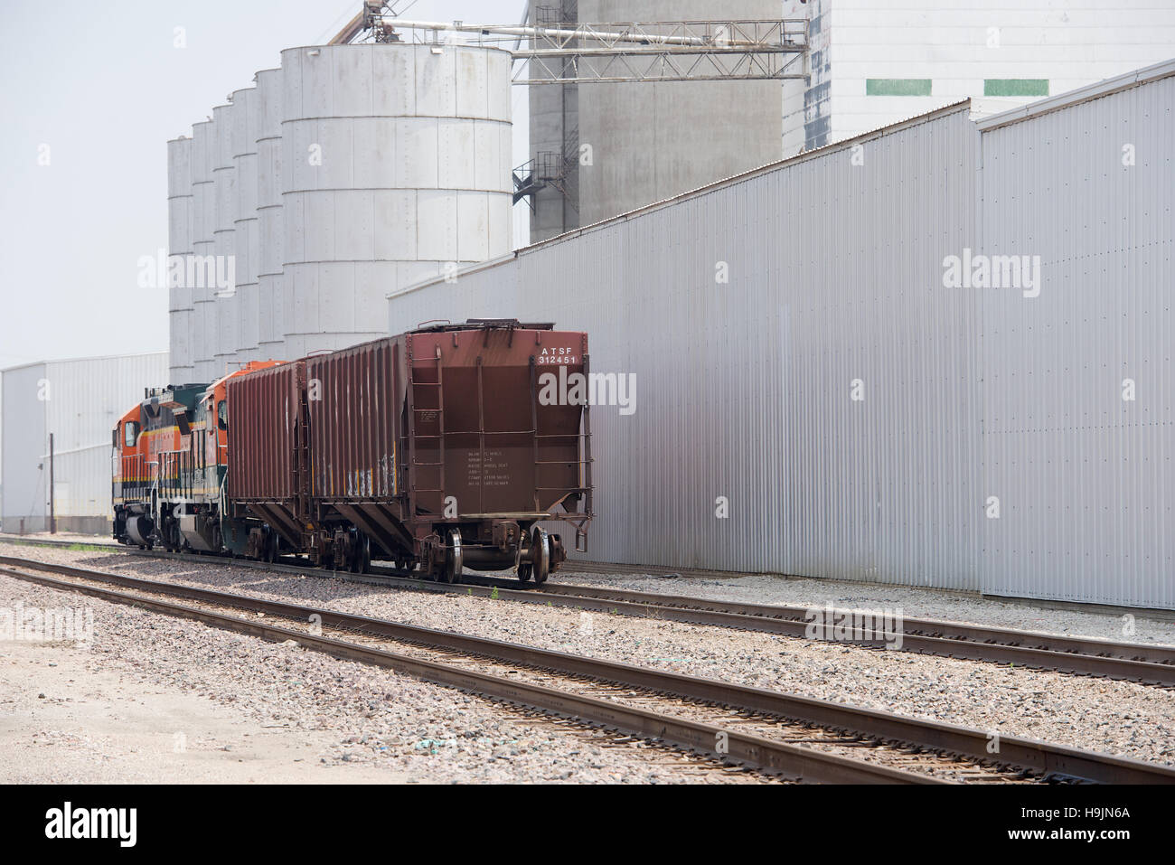 Grain Silos And Storage Facilities With Freight Cars At Fremont, Nebraska,  USA.