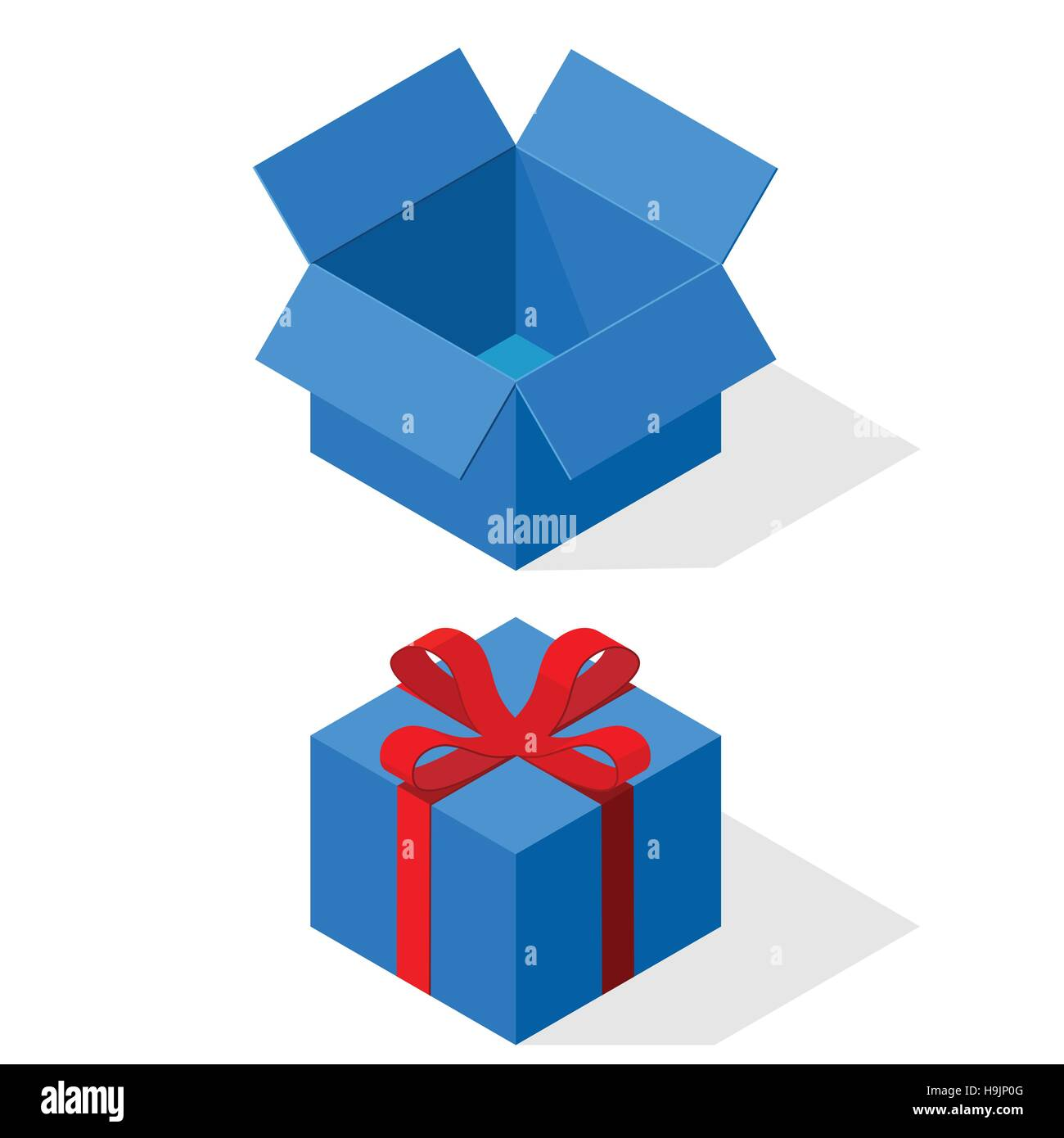 Blue gift boxes open and closed red ribbon and bow stock vector blue gift boxes open and closed red ribbon and bow negle Gallery
