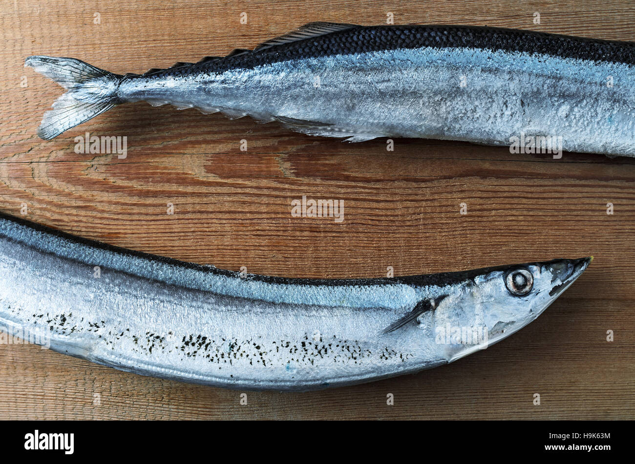 Frozen pacific saury on a wooden cutting board healthy for Fish cutting board