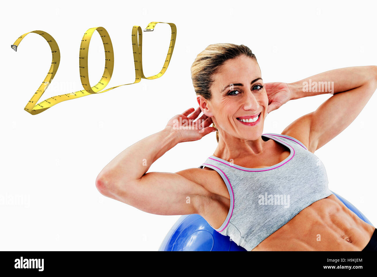 3d composite image of fit woman doing sit ups on blue exercise ball stock photo royalty free. Black Bedroom Furniture Sets. Home Design Ideas