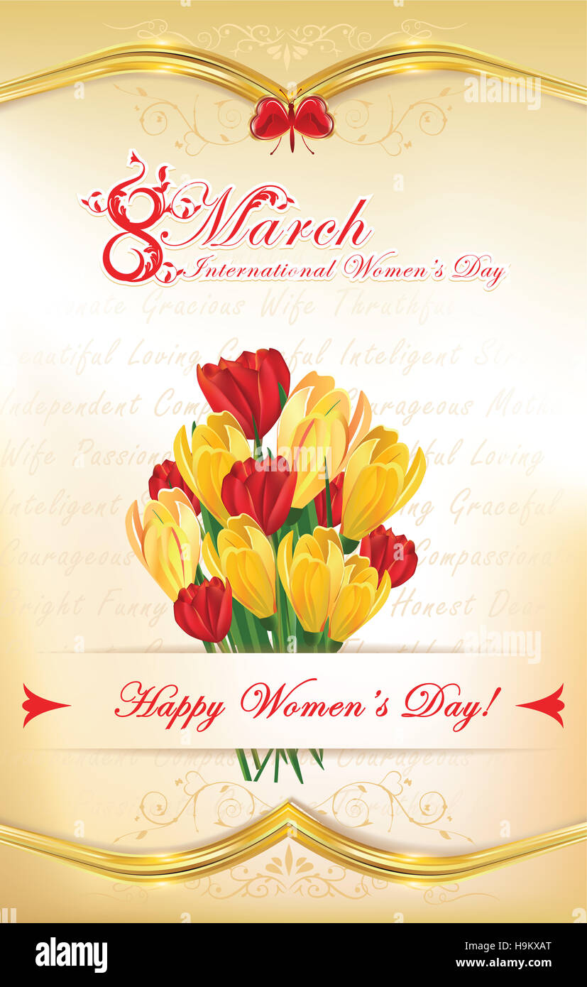 8 march international womens day greeting card with flowers stock 8 march international womens day greeting card with flowers crocus flowers and tulips custom size of a postcard print colo kristyandbryce Image collections