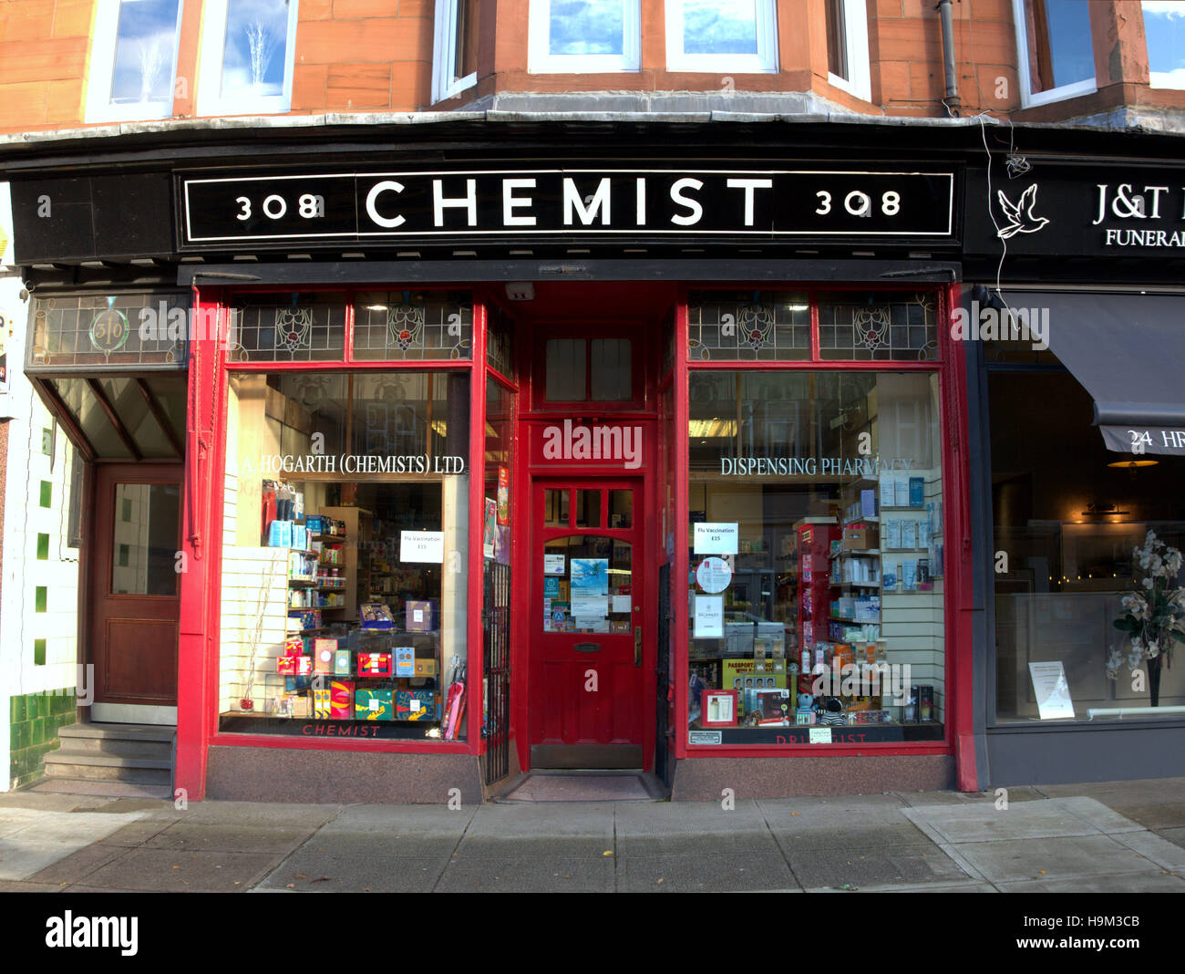 Old Fashioned 1950 1960 Style Chemist Shop Glasgow Stock